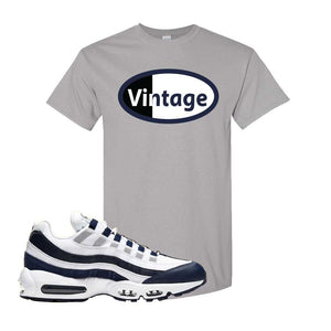 Air Max 95 Essential White / Midnight Navy T Shirt | Gravel, Vintage Oval