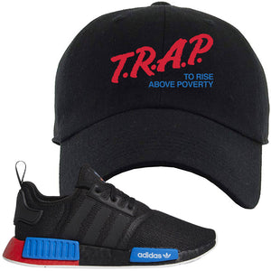 NMD R1 Black Red Boost Matching Dad Hat | Sneaker Dad Hat to match NMD R1s | Trap To Rise Above Poverty, Black
