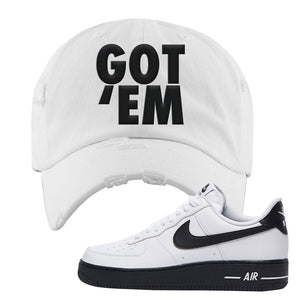 Air Force 1 Low White Black Distressed Dad Hat | White, Got Em