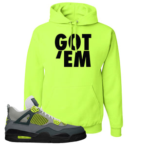 Jordan 4 Neon Sneaker Safety Green Pullover Hoodie | Hoodie to match Nike Air Jordan 4 Neon Shoes | Got Em
