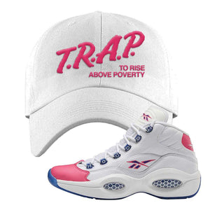 Question Mid Pink Toe Dad Hat | Trap To Rise Above Poverty, White