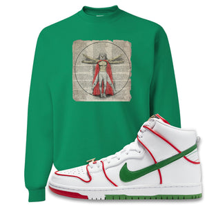 Paul Rodriguez's Nike SB Dunk High Sneaker Green Crewneck Sweatshirt | Crewneck to match Paul Rodriguez's Nike SB Dunk High Shoes | Luchador Davinci