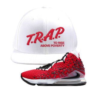 Lebron 17 Uptempo Snapback Hat | White, Trap To Rise Above Poverty
