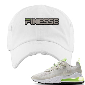 Air Max 270 React Ghost Green Sneaker White Distressed Dad Hat | Hat to match Nike Air Max 270 React Ghost Green Shoes | Finesse