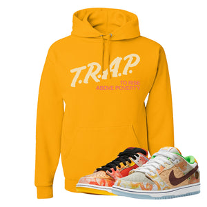 SB Dunk Low Street Hawker Hoodie | Trap To Rise Above Poverty, Gold