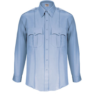 the Firemen Police Public Safety | Stain Resistant Long Sleeve Button Down Work Shirt | Paragon Plus Nanotex Light Blue Uniform Duty Shirt has class b pointed pocket flaps