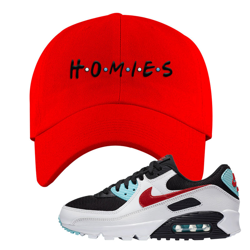 Air Max 90 Bleached Aqua and Chile Red Dad Hat | Red, Homies