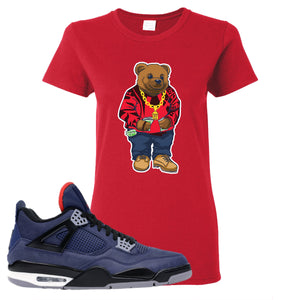Jordan 4 WNTR Loyal Blue Sweater Bear Red Sneaker Hook Up Women's T-Shirt