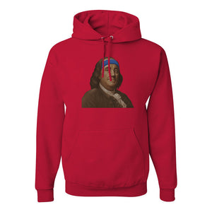 Ben Franklin Sweatband Pullover Hoodie | Ben Franklin Sweat Band Red Pull Over Hoodie the front of this hoodie has ben franklin with a sweatband on him