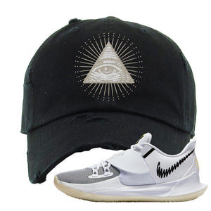 Kyrie Low 3 Distressed Dad Hat | Black, All Seeing Eye