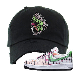 Air Force 1 Low Multi-Colored Tie-Dye Distressed Dad Hat | Black, Indian Chief