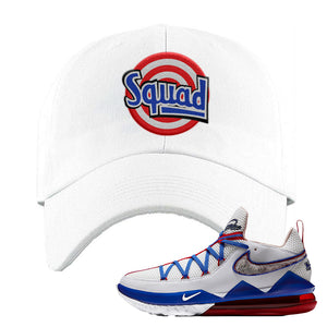 LeBron 17 Low Tune Squad Sneaker White Dad Hat | Hat to match Nike LeBron 17 Low Tune Squad Shoes | Squad