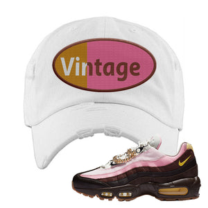 Air Max 95 Cuban Links Distressed Dad Hat | White, Vintage Oval