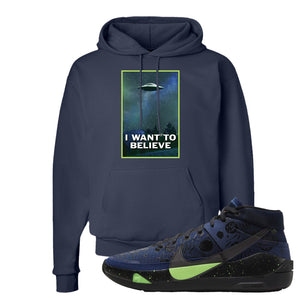 KD 13 Planet of Hoops Hoodie | I Want To Believe, Navy