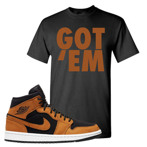 Air Jordan 1 Mid Wheat T Shirt | Got Em, Black