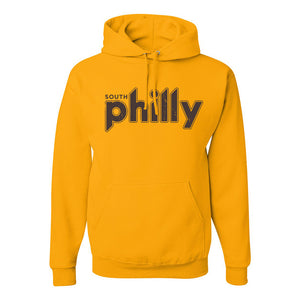 South Philly Vintage Pullover Hoodie | South Philadelphia Retro Gold Pull Over Hoodie the front of this hoodie has the south philly vintage logo