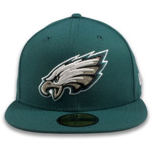 EAGLES Fitted hat on field current logo pine green colorway with metallic and white logo | 59FIFTY (5950) FITTED CAP | PINE NEEDLE GREEN