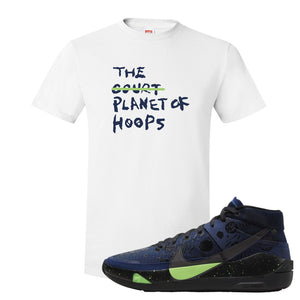 KD 13 Planet of Hoops T Shirt | Planet Of Hoops Lettering, White