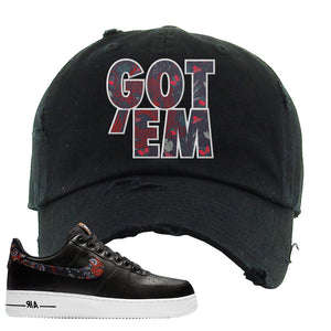 Air Force 1 Low Black Floral Distressed Dad Hat | Got Em, Black