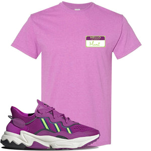 Ozweego Vivid Pink Sneaker Heather Radiant Orchid T Shirt | Tees to match Adidas Ozweego Vivid Pink Shoes | Hello my Name is Mami
