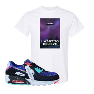 Air Max 90 Galaxy T Shirt | White, I Want to Believe