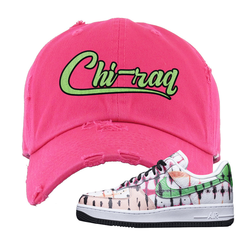 Air Force 1 Low Multi-Colored Tie-Dye Distressed Dad Hat | Pink, Chiraq