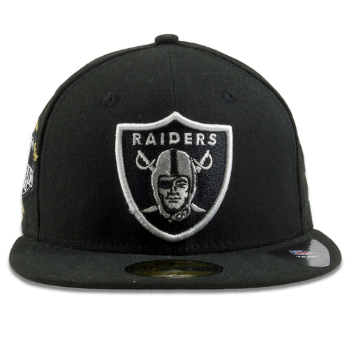 f03b8ea003e0d1 Oakland Raiders SuperBowl Victory Count Patch Black 59Fifty Fitted Cap
