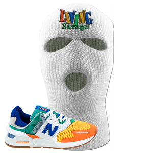 997S Multicolor Sneaker White Ski Mask | Winter Mask to match New Balance 997S Multicolor Shoes | Living Savage
