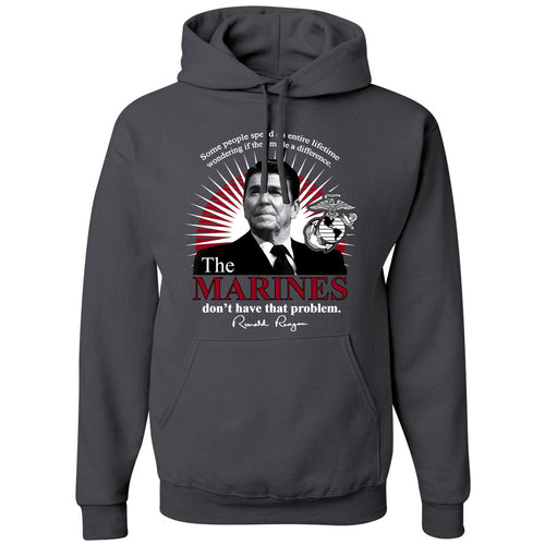 Standard Issue The Marines Featuring Ronald Reagan Gray Pullover Grunt Life Hoodie