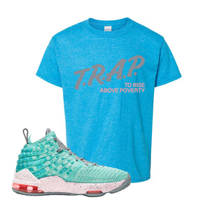 Lebron 17 South Beach Kids T-Shirt | Trap to Rise Above Poverty, Heather Sapphire