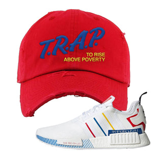 NMD R1 Olympic Pack Distressed Dad Hat | Red, Trap To Rise Above Poverty