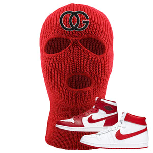 Jordan 1 New Beginnings Pack Sneaker Red Ski Mask | Winter Mask to match Nike Air Jordan 1 New Beginnings Pack Shoes | OG