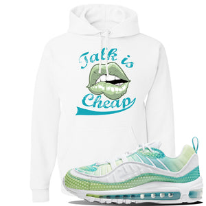 WMNS Air Max 98 Bubble Pack Sneaker White Pullover Hoodie | Hoodie to match Nike WMNS Air Max 98 Bubble Pack Shoes | Talk is Cheap