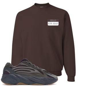 Yeezy Boost 700 Geode Sneaker Hook Up Hello My Name Is Hype Beast Pablo Brown Crewneck Sweater