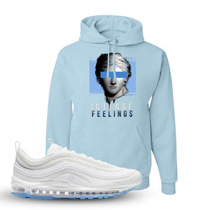 Air Max 97 White/Ice Blue/White Sneaker Light Blue Pullover Hoodie | Hoodie to match Nike Air Max 97 White/Ice Blue/White Shoes | Intense Feelings