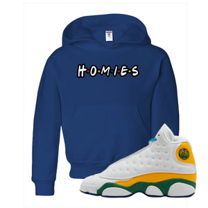 Playa From the Himalaya Royal Blue Kid's Pullover Hoodie to match Air Jordan 13 GS Playground Kids