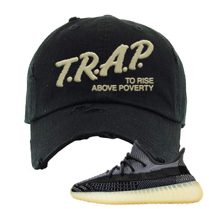 Yeezy Boost 350 V2 Asriel Carbon Distressed Dad Hat | Trap To Rise Above Poverty, Black