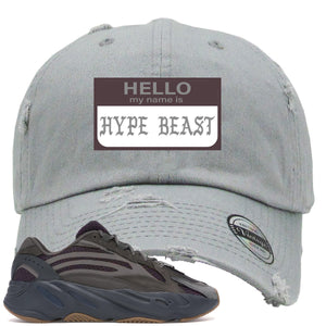 Yeezy Boost 700 Geode Sneaker Hook Up Hello My Name Is Hype Beast Pablo Light Gray Distressed Dad Hat