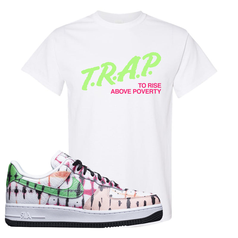 Air Force 1 Low Multi-Colored Tie-Dye T Shirt | White, Trap To Rise Above Poverty