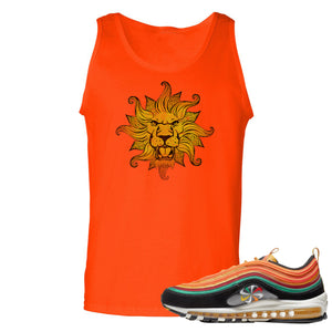 Printed on the front of the Air Max 97 Sunburst sneaker matching orange tank top is the vintage lion head logo