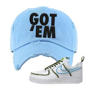 Air Force 1 '07 PRM 'Worldwide Pack' Distressed Dad Hat | Light Blue, Got Em