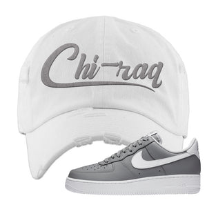 Air Force 1 Low Wolf Grey White Distressed Dad Hat | White, Chiraq