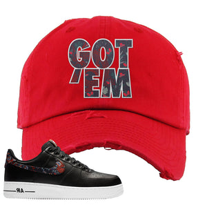 Air Force 1 Low Black Floral Distressed Dad Hat | Got Em, Red