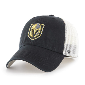 Embroidered on the front of the Las Vegas Golden Knights black mesh-back stretch fit cap is the Golden Knights logo embroidered in gold, gray, and black