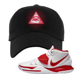 Kyrie 6 White University Red Dad Hat | All Seeing Eye, Black