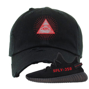 Yeezy 350 Boost V2 Bred Distressed Dad Hat | All Seeing Eye, Black