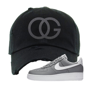 Air Force 1 Low Wolf Grey White Distressed Dad Hat | Black, OG