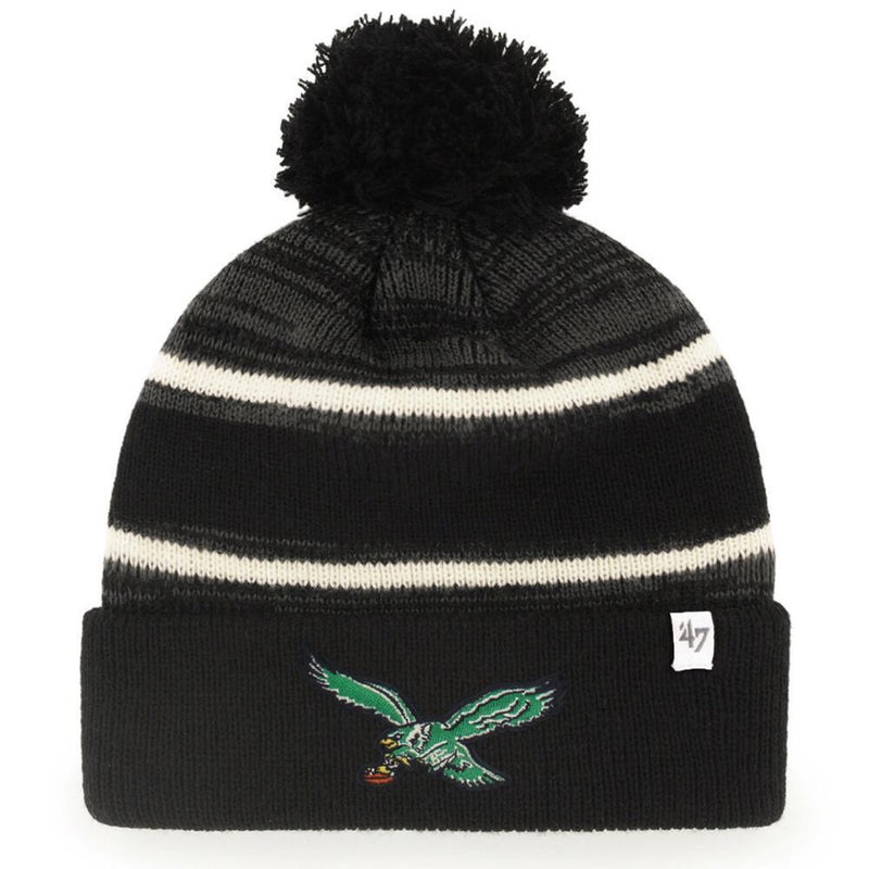 On the front of the vintage Philadelphia eagles beanie is the retro eagles bird logo embroidered in kelly green, white, black, brown and yellow