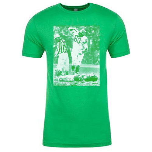 on the chuck bednarick custom philly inspired t-shirt there is an image of frank gifford being hit in white