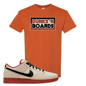 SB Dunk Low Muslin T Shirt | Dunks N Board, Texas Orange